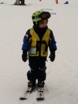 Soren during his first ski lesson at Crystal Mountain, Michigan