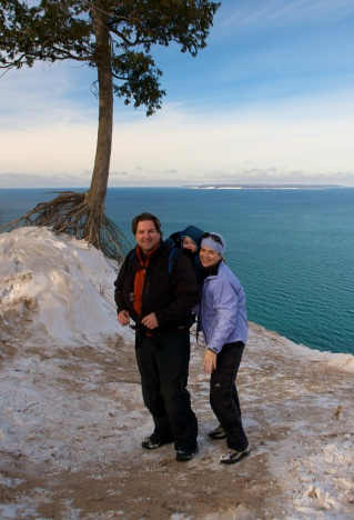 Pyramid Point at Sleeping Bear Dunes, overlooking Lake Michigan, in January